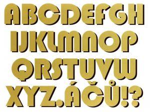 font Blippo BK AT zlatý plast