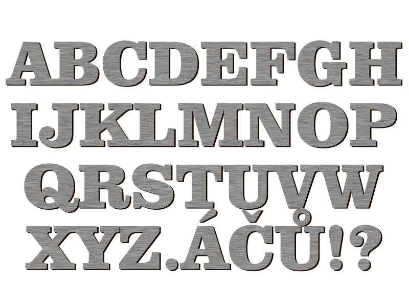 font Comic Sans MS stříbrný plast