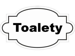 Dveřní štítek Toalety bílý