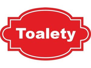 Dveřní štítek Toalety červený