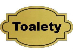 Dveřní štítek Toalety zlatý