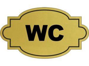 Dveřní štítek WC zlatý