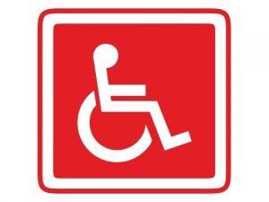 Dveřní štítek invalida červený