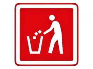 Piktogram odpadkový koš červený