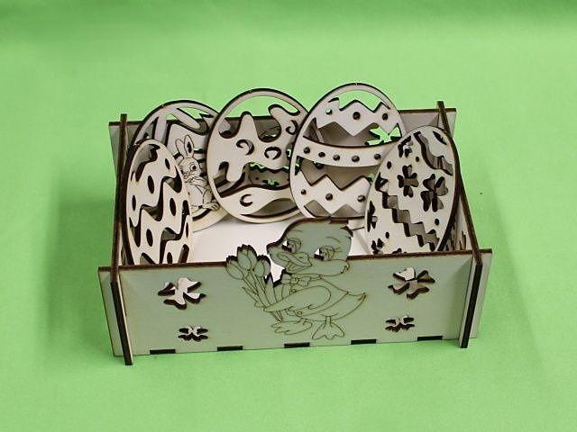 velikonoční vyřezávaná sada s krabičkou