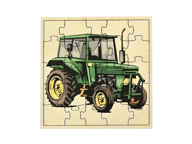 Dřevěné puzzle Traktor barevné