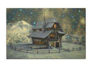 dřevěný vánoční pohled