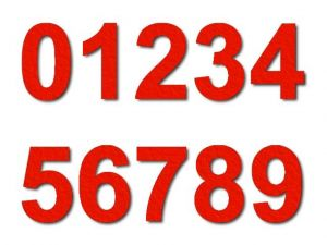 Číslice 01 filc 10 cm