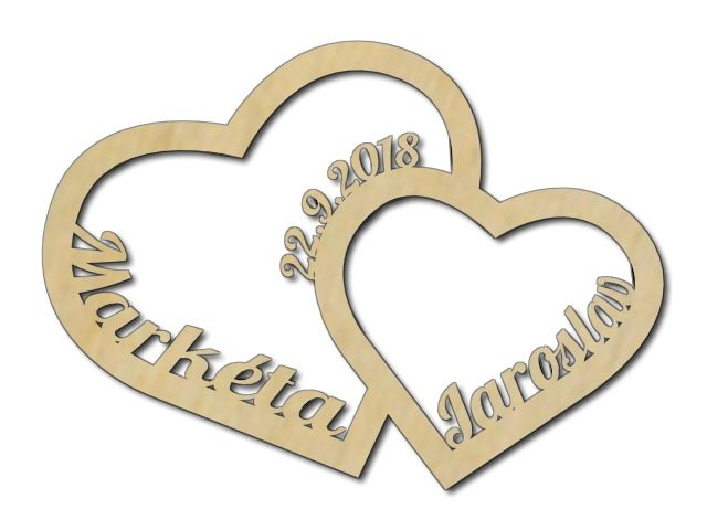 dřevěná dekorace srdce
