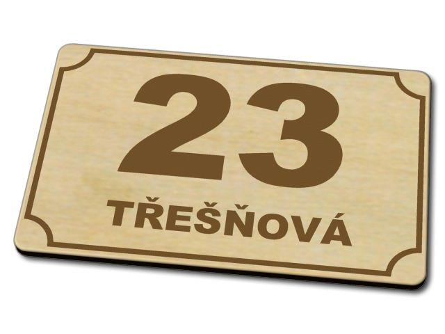dřevěné domovní číslo