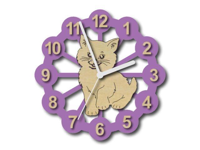 Dřevěné dětské hodiny s kočkou