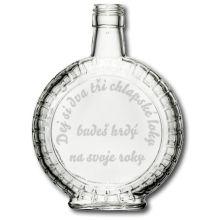 Skleněná láhev s gravírovaným textem