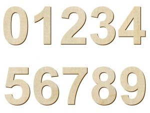 Číslice - sada (24 cm) dřevěná