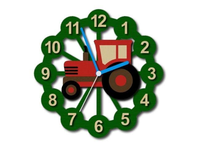 Dřevěné dětské hodiny s traktorem
