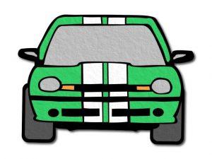 filcové auto zelené