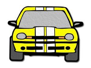 filcové žluté auto