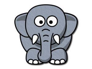 Filcový slon tištěný