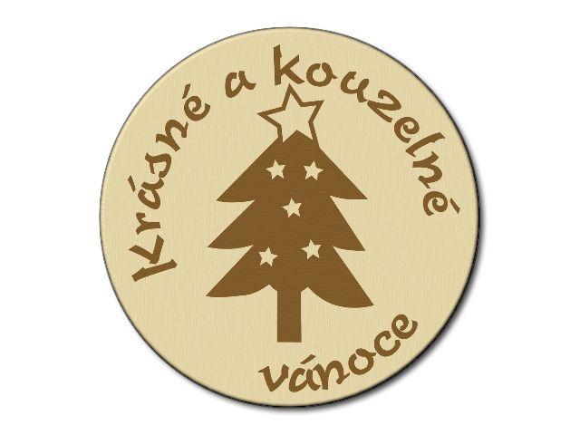 podtácek dřevěný vánoční