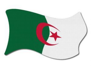 Alžírská vlajka vlající