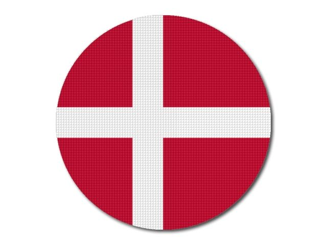 Dánská vlajka kulatá tisk
