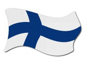 Finská vlajka vlající