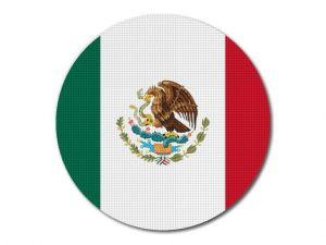 Mexická vlajka kulatá tisk