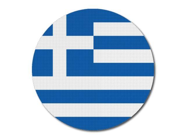 Tištěná řecká vlajka kulatá