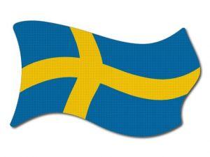 Švédská vlajka vlající