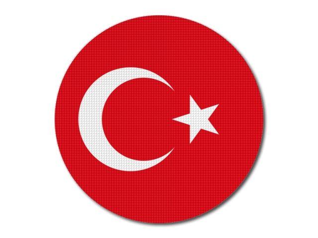 Tištěná turecká vlajka kulatá