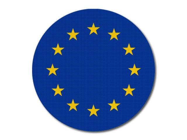 Tištěná vlajka evropské unie kulatá