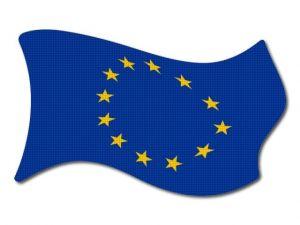 Vlajka EU vlající