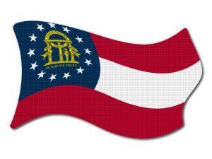 Vlajka Georgia vlající