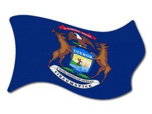 Vlajka Michigan vlající
