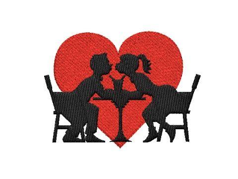 Výšivka srdce a milenci