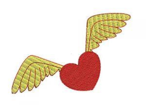 Výšivka Srdce s křídly