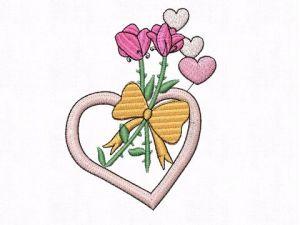 Výšivka Srdce s květinou